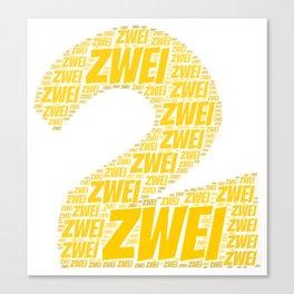 Zahl Zwei t shirt german as birthday present Canvas Print