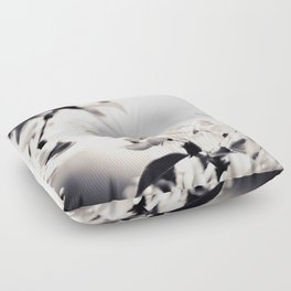 Black and White Flowers 2 Floor Pillow