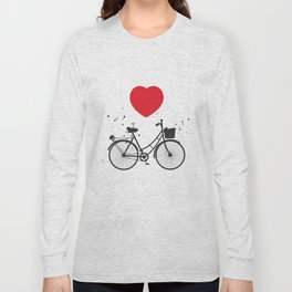black bicycle silhouette and red heart on white background Long Sleeve T-shirt