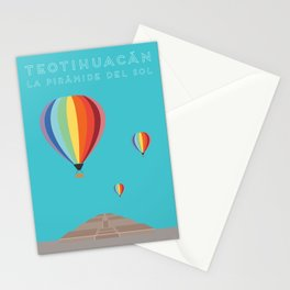 Teotihuacan, La Piramide del Sol, Mexico Travel Poster Stationery Cards
