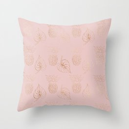 Gold Leaves and Pineapples on Pink Throw Pillow