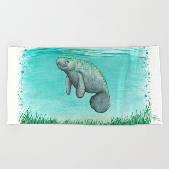 Mossy Manatee ~ Watercolor & Ink Painting by Amber Marine Beach Towel