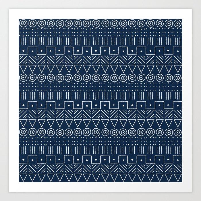 Mudcloth Style 1 in Navy Kunstdrucke