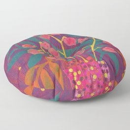 Chinese Lanterns in Neon Colors, Physalis, Abstract Botanical Bold Floral Floor Pillow