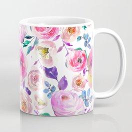 Elegant modern pink lilac orange watercolor floral Coffee Mug