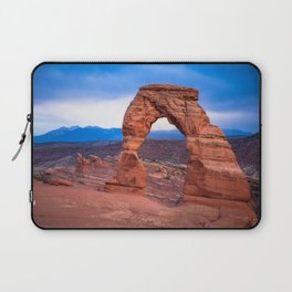 Delicate - Delicate Arch Glows on Rainy Day in Utah Desert Laptop Sleeve