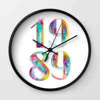 1989 Wall Clocks featuring 1989 by Christina Guo