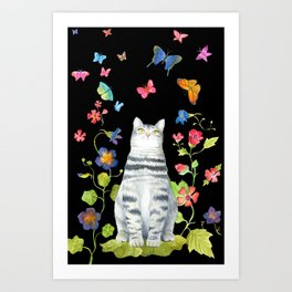 Tabby Cat with Butterflies and Flowers Art Print