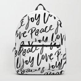 Peace Love Joy Brush Lettered Backpack