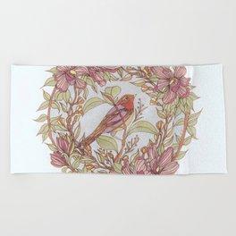 Magnolia And Marigold Wreath With Songbird Beach Towel