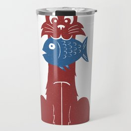 Cat with Fish Travel Mug