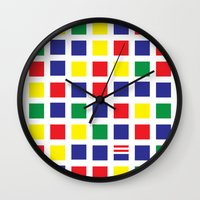 waldo Wall Clocks featuring Square's Waldo by Jonah Makes Artstuff