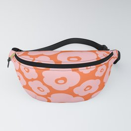 Retro Flower Pattern 142 Orange and Pink Fanny Pack