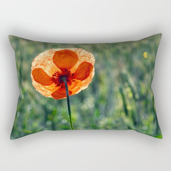 Poppy in a green meadow-Poppies and Flowers on #Society6 Rectangular Pillow