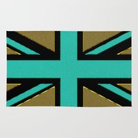 union jack Area & Throw Rugs featuring Glittery Union Jack by Alice Gosling