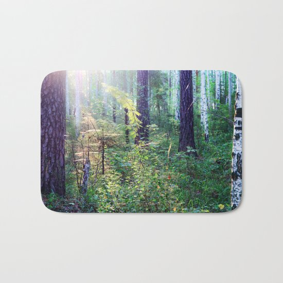 Sunny morning in the forest Bath Mat