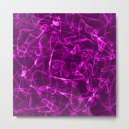 Pink marble and space luminous lines in iridescent style. Metal Print