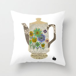 Mod Flowers Coffee Pot Collage Throw Pillow