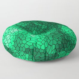 Stained glass texture of snake green leather with bright heat spots. Floor Pillow