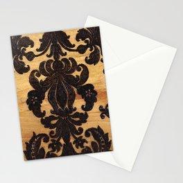 Wood Burnt Damask Stationery Cards