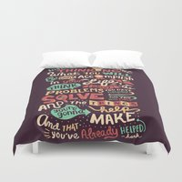 risa rodil Duvet Covers featuring Solving Problems, Making Things by Risa Rodil
