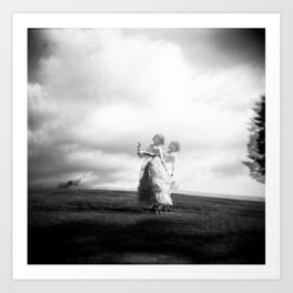 Ophelia Darkly in the Cemetery - Black and White Holga double exposure Art Print