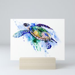 Swimming Sea Turtle Mini Art Print