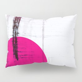 Pink Circle Straight Lines Abstract Black and White Pillow Sham