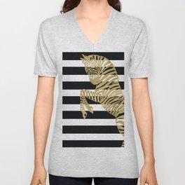 Zebra in Gold, Black and White Stripe Unisex V-Neck