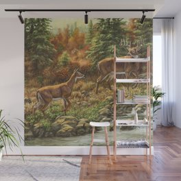 Whitetil Deer Doe & Buck by Waterfall Wall Mural