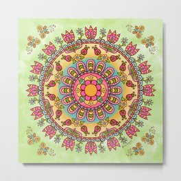 Happy Garden Mandala Metal Print