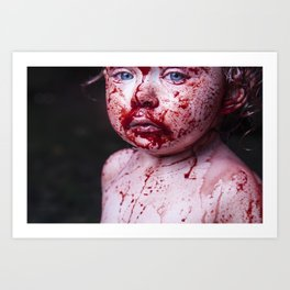 Blood White And Blue Art Print