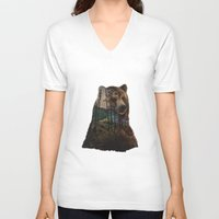 lake V-neck T-shirts featuring Bear Lake by Davies Babies