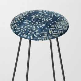 Vintage indigo inspired  flowers and lines Counter Stool