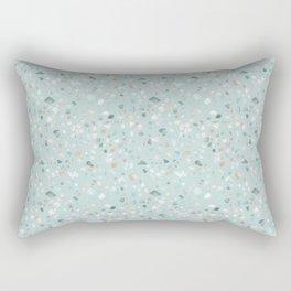 Pastel Terrazzo (Teal Blue) Rectangular Pillow