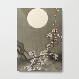 Blossoming plum tree at full moon  - Vintage Japanese Woodblock Print Art Metal Print