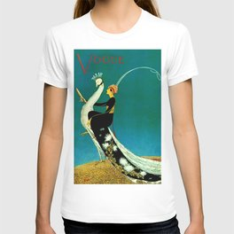 Vintage 1920's Jazz Age Flapper with White Peacock Fashion Poster T-shirt