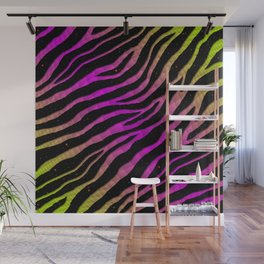 Ripped SpaceTime Stripes - Lime/Pink Wall Mural