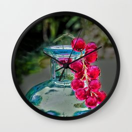 Summer colors- vintage bottle and red currant berries Wall Clock