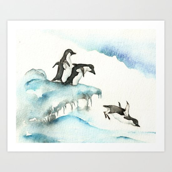 Jumping Penguins - Watercolor Art Print