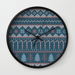 Chistmas Sweater in Blue Wall Clock