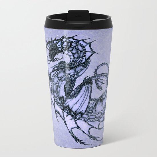 """Tsunami"" by Amber Marine ~ Sea Dragon (Amethyst Version) ~ Graphite/Charcoal Illustration, (c) 2005 Metal Travel Mug"