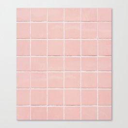Peach Pink Tile Grid Canvas Print