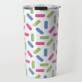 Pink, green and blue bandages Travel Mug