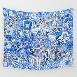 Delft Blue and White Pattern Painting with Lions and Tigers and Birds Wall Tapestry