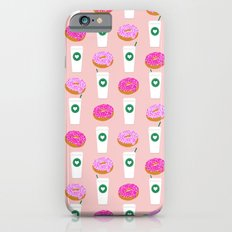 Coffee and donuts cute latte breakfast food pattern print pastel pink girly coffee cell phone cases iPhone 6s Slim Case