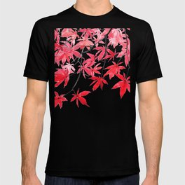 red maple leaves watercolor painting 2 T-shirt