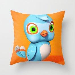Toby Blue Bird Throw Pillow