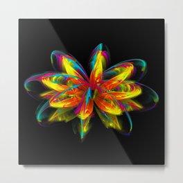 Fire Fractal Water Lily Metal Print