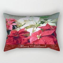 Mixed color Poinsettias 3 Merry Christmas S5F1 Rectangular Pillow